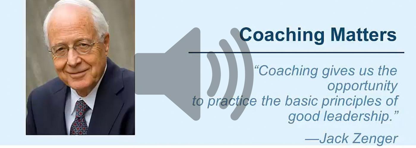 Coaching Matters Jack Zenger